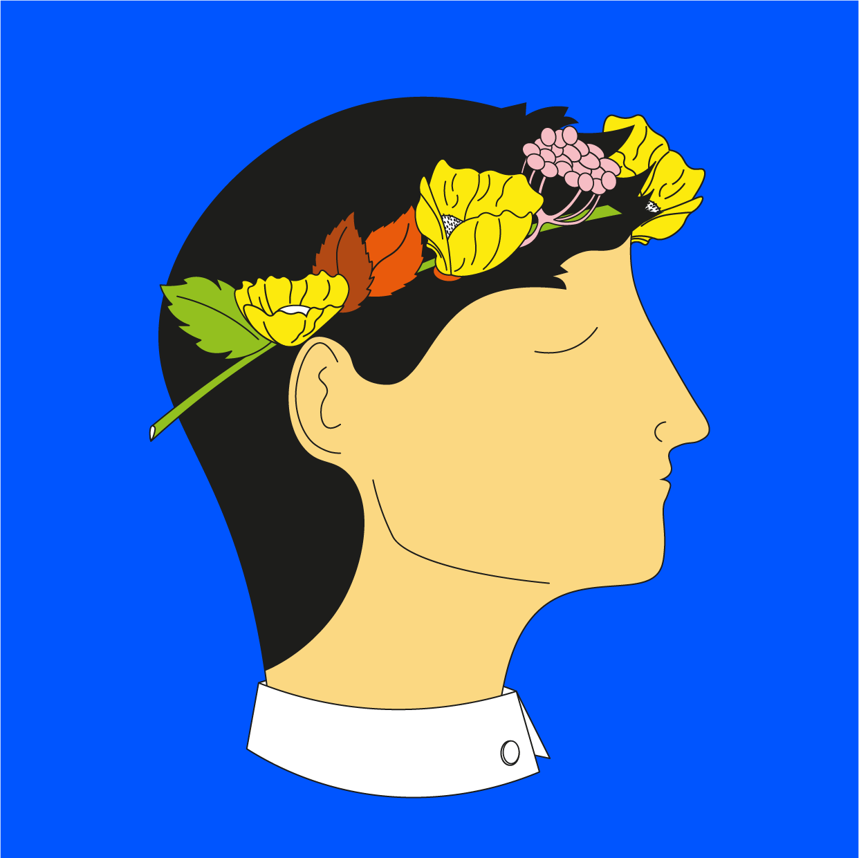 Portrait Of  A Young Man With Flowers in Hair
